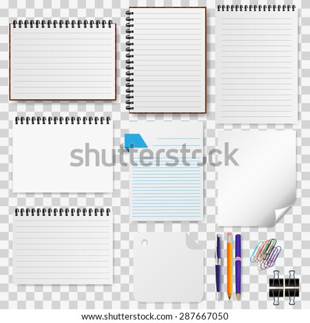A set of stationery paper, notepads illustration