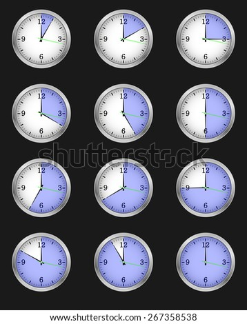 A set of twelve alarms indicating different times, each of the twelve hours. illustration icon  - stock photo