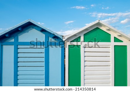 A set of two colorful beach huts at Riccione - Italy - stock photo