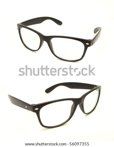A Set of Two Retro Glasses Isolated on White - stock photo