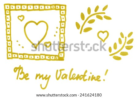 A set of Valentine day hand drawn elements with the handwritten text 'Be my Valentine' on white background - stock photo