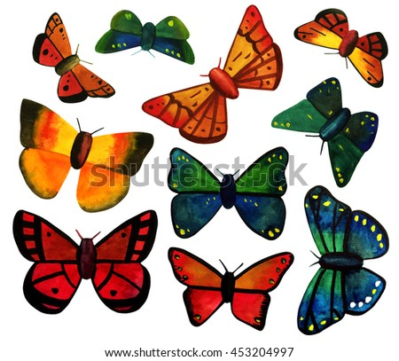 A set of watercolor butterflies, dark red and deep blue and green, hand painted on white background; a collection of decorative elements for greeting cards design