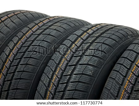A set of winter tyres - stock photo