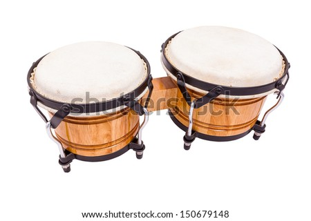 A set of wooden bongos isolated on a white background - stock photo