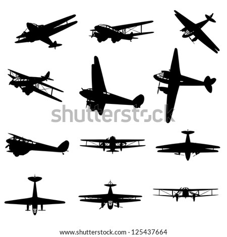 A set or collection of black planes drawings on a beige background.A group or collection of aircrafts ideal for grungy,travel,flight,transport,business or commercial designs isolated on white