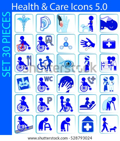 A set with thirty Health and Care Icons