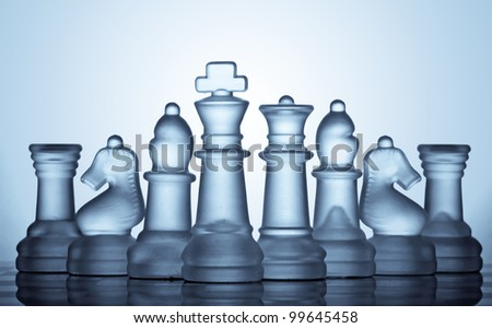 A sets of glass chess - stock photo