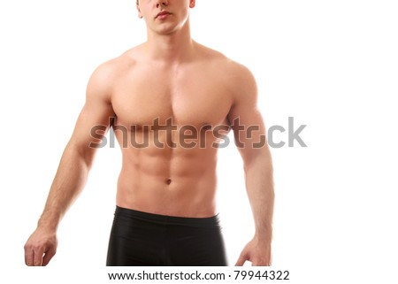 A sexy body of a young man, isolated on white