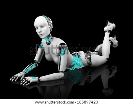 A sexy female robot lying on her stomach on the floor. Black background.