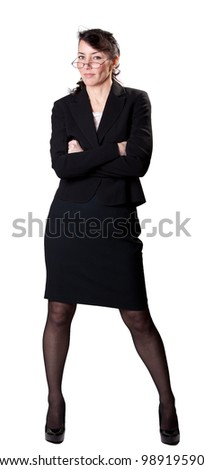 A sexy librarian with her arms crossed - stock photo