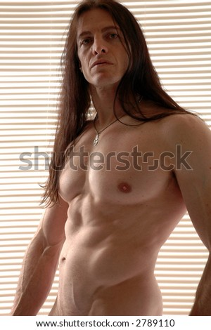 A sexy man in front of the window blinds - stock photo