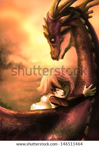 A shabby girl is hugging her dragon with happiness in the dramatic sunset scene. This is a fantasy drawing - stock photo