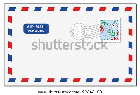 A shady air mail envelope on a white background - stock photo