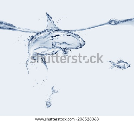 A shark made of water swimming in a menacing way, preparing to eat a water fish with a fishbone sinking.   - stock photo