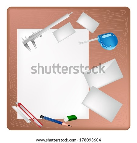 A Sharpened Pencil, Eraser, Vernier Caliper, Tape Measure Device and Utility Knife Lying on Blank Paper with Name Cards and Envelope on Architect Working Table.  - stock photo