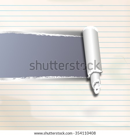 a sheet of paper ripped