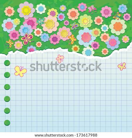 A sheet of paper torn from a notebook. Background of decorative flowers and butterflies on a green surface. raster version - stock photo
