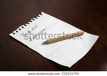 A sheet of paper with to-do list - stock photo