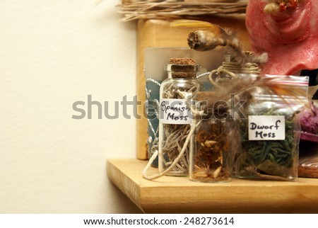 A shelf of natural world samplers for alternative medicine. - stock photo