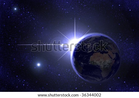 a shining star behind Earth