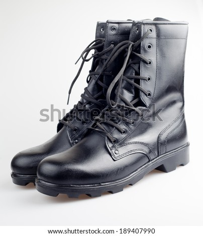 A shiny new pair of army boots.