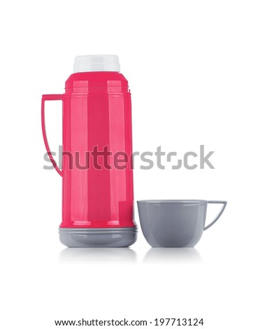 A Shiny Pink Thermos with Gray Cup Isolated on White Background - stock photo