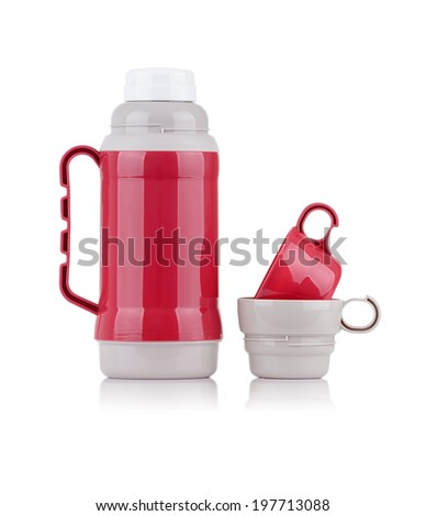 A Shiny Red Thermos with Two Cups Isolated on White Background - stock photo