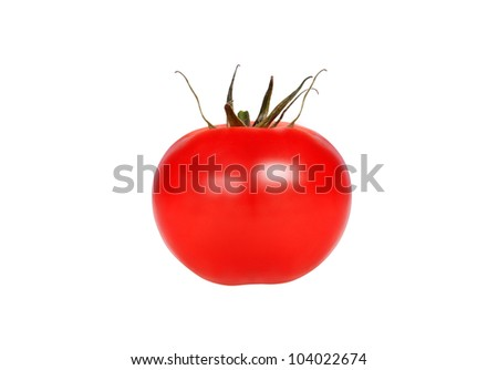 A shiny red tomato isolated on white background