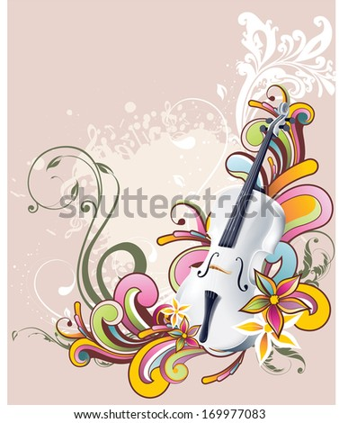 A shiny silver violin surrounded by color flowers and swirls.