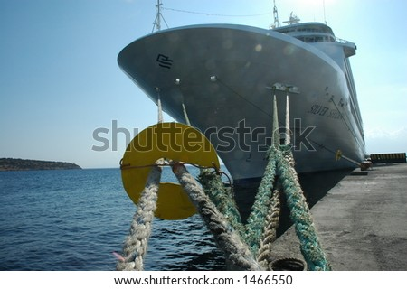 A ship in the Mirabello harbor in Agios Nikolaos, Crete - stock photo