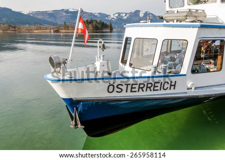 a ship named austria at lake wolfgang in upper austria.