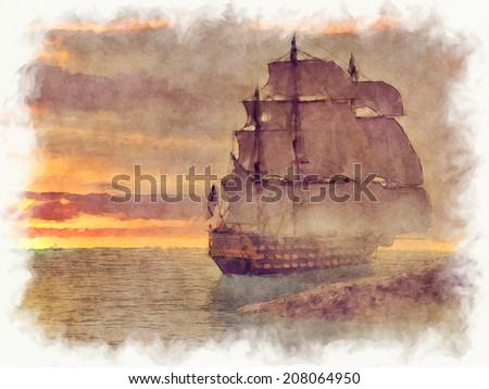 A ship sailing away at sunset.  - stock photo