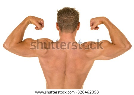 a shirtless man with his back to the camera, flexing his muscles.