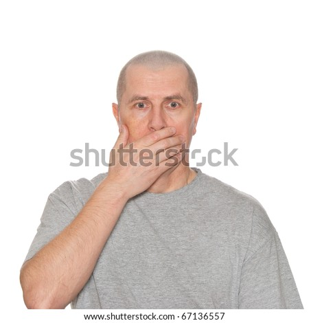 A shocked man isolated on white. - stock photo