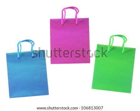 A shopping bag isolated against a white background
