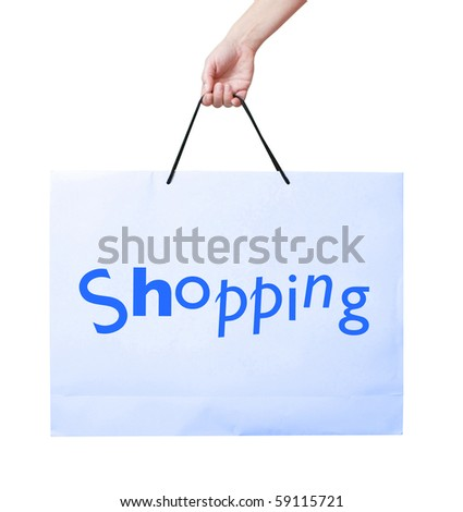 A shopping bag isolated on white - stock photo
