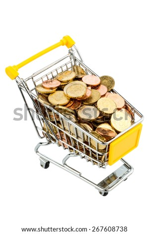 a shopping cart filled with euro coins, symbolic photo for purchasing power, inflation, consumption - stock photo