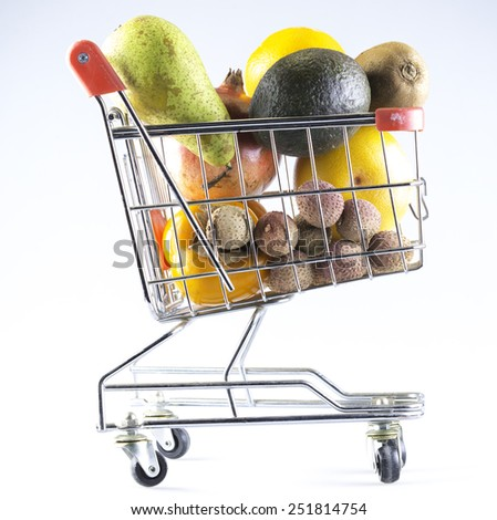 a shopping cart filled with fruit