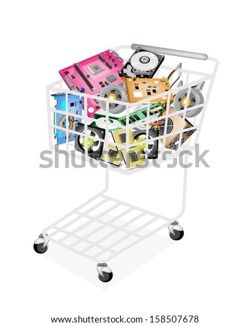 A Shopping Cart Full with CD-ROM Disk Drive, Power Supply Box, Computer Hard Disk, RAM, Computer Graphic Card or Video Card and Computer Mother Board or  Mainboard for Desktop Computer or PC.  - stock photo