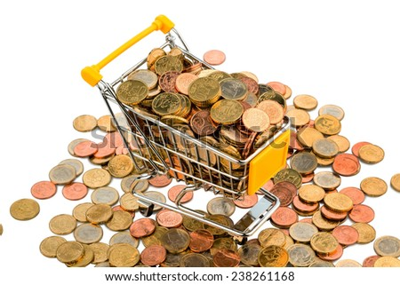 a shopping cart is full with euro coins, symbolic photo for purchasing power and consumption - stock photo