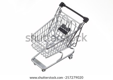 A Shopping Cart Isolated On White - stock photo