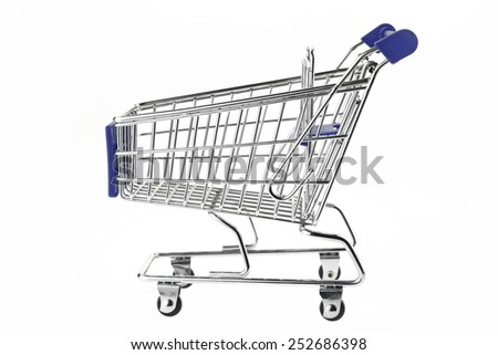 A Shopping Cart With Blue Display Isolated On White Background