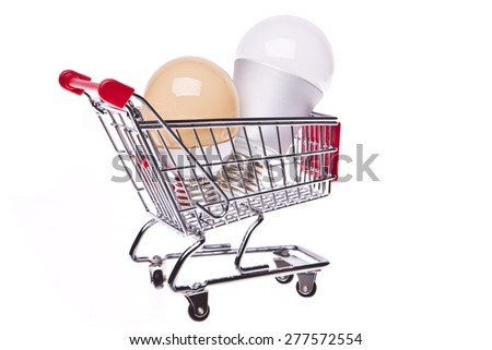 A Shopping Cart with set of LED bulbs Isolated On White  - stock photo