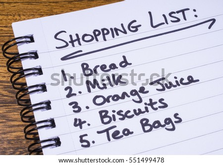 A shopping list written in a notepad.