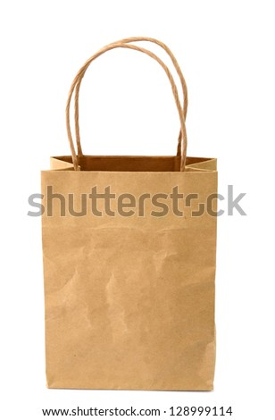 A shopping paper bag on white