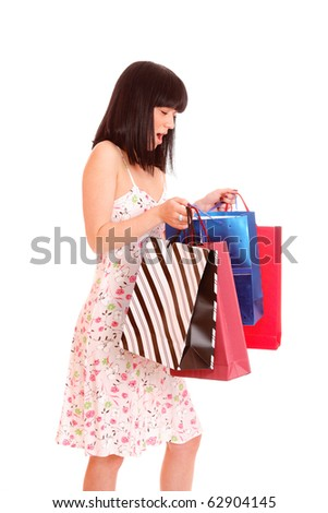a Shopping sexy woman over white background