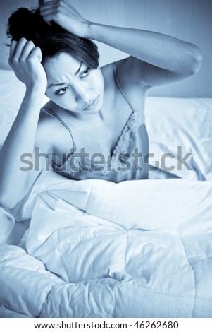 A shot of a black woman having an insomnia