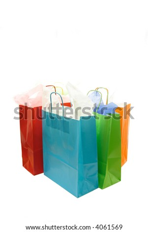 A shot of a bunch of isolated colorful shopping bags
