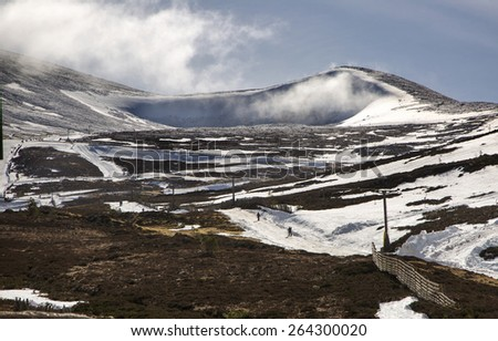 A shot of a Cold mountain snowy ski scene - stock photo
