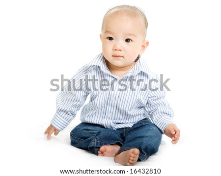A shot of a cute asian baby boy on white background
